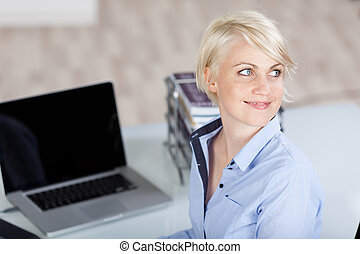 High Angle View Of Businesswoman Looking Away