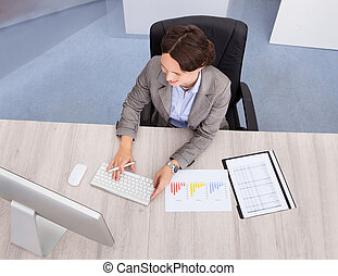 High Angle View Of Businesswoman Smiling Young Businesswoman...