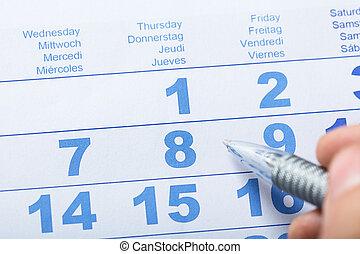 High Angle View Of Calendar