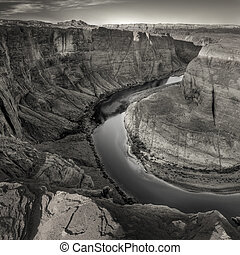 high angle view of cliff and river of horseshoe bend