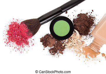 High angle view of cosmetic products - Top view of make-up...