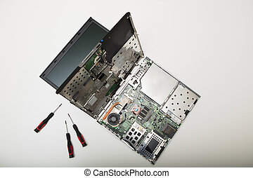 High angle view of disassembled laptop computer