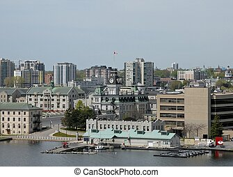 high angle view of downtown Kingston Ontario from the water side