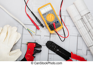 Electrical Components Arranged On Plans - High Angle View Of...
