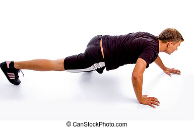 high angle view of exercising man against white background