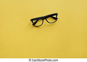 High angle view of eyeglasses on the table