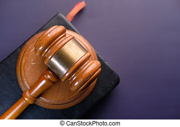 high angle view of gavel on a book