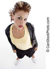 high angle view of glamorous woman