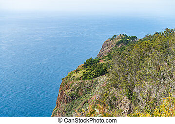 High angle view of grassy cliff