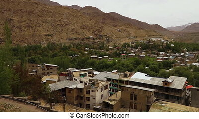 High angle view of Kargil town buildings, Kargil - High-...