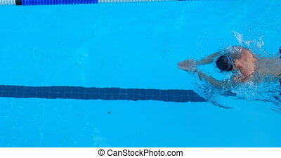 High angle view of male swimmer swimming inside pool 4k - ...