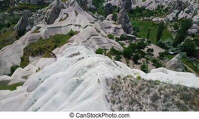 High angle view of mountains and farm - High angle, aerial...