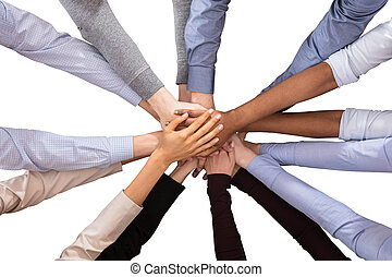 Multiracial Businesspeople Stacking Their Hands