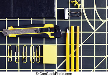 High angle view of office supplies