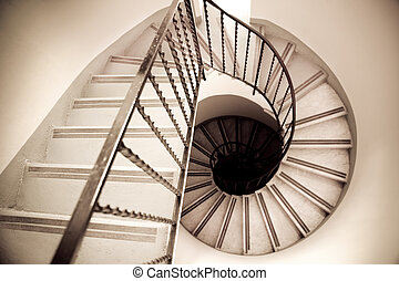 staircase - high angle view of old spiral staircase