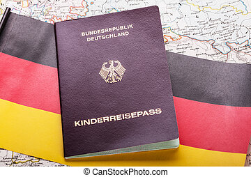 Passport On German Flag - High Angle View Of Passport On ...