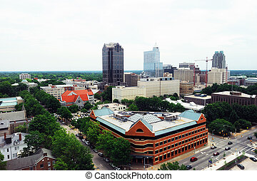 high angle view of Raleigh downtown