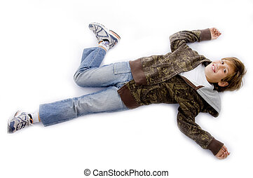 high angle view of small kid lying down on floor