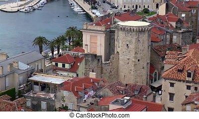 High angle view of Split, Croatia, a popular tourist destination. Venetian Tower at Fruit Square.