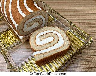 High angle view of sponge cake with cream