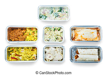 High Angle View Of Tasty Food In Foil Containers