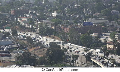 High angle view of the Hollywood Freeway in LA - Ariel view...