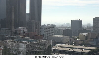 High angle view of the Los Angeles Skyline - Zoom in to...