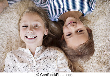 High angle view of two girls