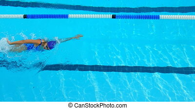 High angle view of young female swimmer swimming inside pool...