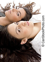 high angle view of young friends gains white background