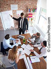 High angle view on business meeting