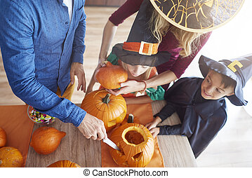 High angle view on family during halloween time