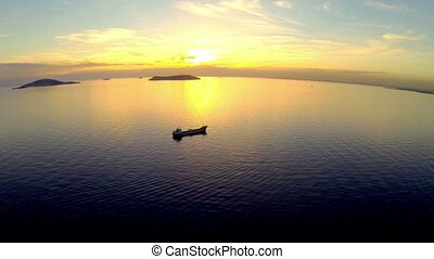 High angle view over Marmara Sea at splendid sunset in...