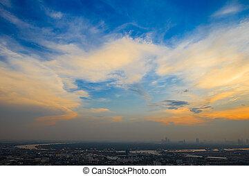 High angle view, sunset in Bangkok, Thailand