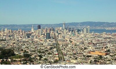 High angle Zoom in over San Francisco downtown