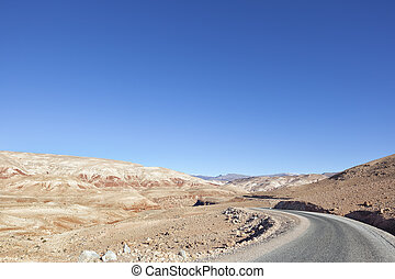 High Atlas Mountains with road in the Ounila Valley.
