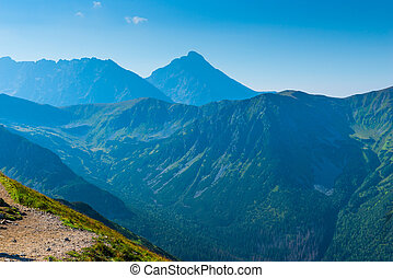 High beautiful mountains of the Tatra in the haze, picture on a sunny day
