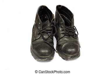 high black leather boots isolated