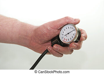 High Blood Pressure - Blood pressure gage showing high blood...