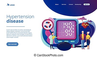 Doctor, elderly couple at tonometer hight blood pressure, tiny people. High blood pressure, hypertension disease, blood pressure control concept. Website vibrant violet landing web page template.
