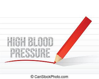 high blood pressure written on a white piece paper