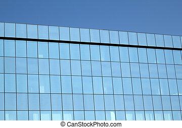 high blue glass wall