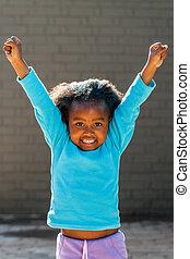 high., bras, africaine, élévation, heureux