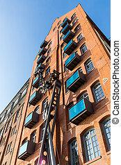 High brickwall building in Hamburg