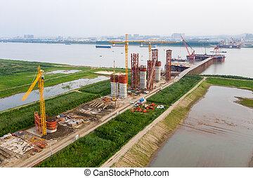 high bridge pier under construction
