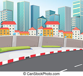 High buildings near the street - Illustration of the high...