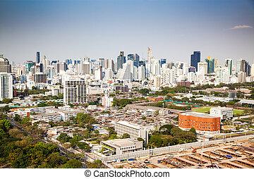 high buildings panorama downtown of Bangkok City and Lumpini park Thailand