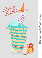 high cake birthday with candle. piece of cake on a plate. Gift