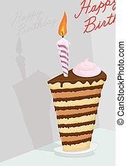 High cake. Happy birthday postcard