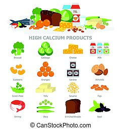 High calcium food infographic elements flat vector ...